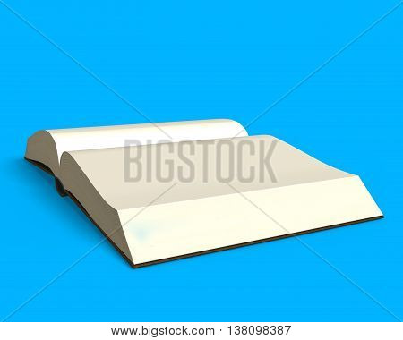 Opening Book Isolated In Blue Side View, 3D Rendering