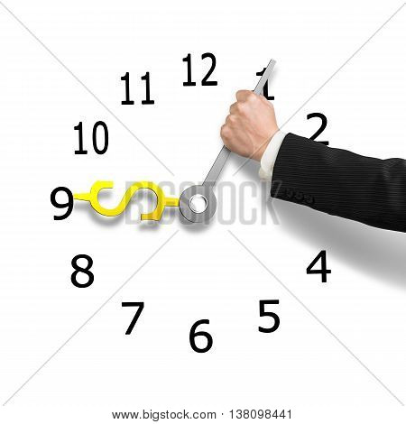 Hand Holding Clock Hands With Money Sign, 3D Illustration