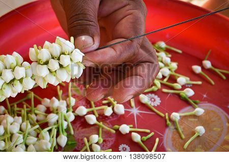 Jasmine garland of white needles garlands, flowers on Mother's Day.