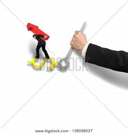 Businessman Carrying Red Arrow Sign Balancing On Money Clock Hand With Another Holding, Isolated In