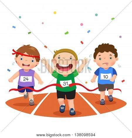 Vector illustration of boys on a race track on a white background
