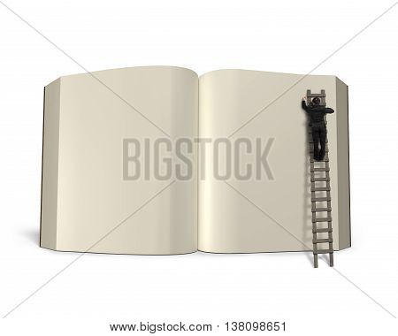 Writing Opening Book With Wooden Ladder Isolated In White, 3D Rendering