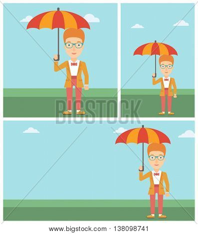 Businesswoman standing with open umbrella on the background of blue sky. A woman under open umbrella. Happy woman with umbrella. Vector flat design illustration. Square, horizontal, vertical layouts.