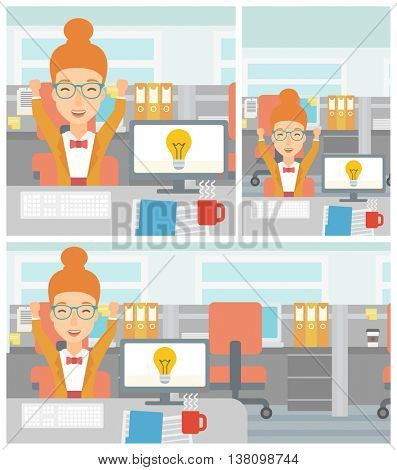 Woman with arms up having business idea. Woman working on a computer with business idea bulb on a screen. Business idea concept. Vector flat design illustration. Square, horizontal, vertical layouts.