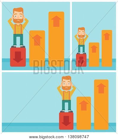 A frightened hipster bankrupt clutching his head. Bankrupt standing on chart going down. Concept of business bankruptcy. Vector flat design illustration. Square, horizontal, vertical layouts.
