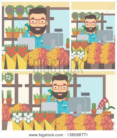 A hipster florist with the beard using telephone and laptop to take orders. A florist standing behind the counter at flower shop. Vector flat design illustration. Square, horizontal, vertical layouts.