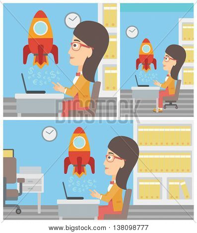 Young business woman sitting at the table and looking at a business start up rocket taking off. Business start up concept. Vector flat design illustration. Square, horizontal, vertical layouts.