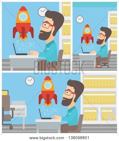 A hipster businessman sitting at the table and looking at a business start up rocket taking off. Business start up concept. Vector flat design illustration. Square, horizontal, vertical layouts.