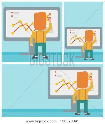 Rear view of businessman drawing infographic on the board. Man giving business presentation. Vector flat design illustration. Square, horizontal, vertical layouts.
