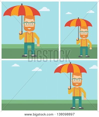 Businessman standing with open umbrella on the background of blue sky. Businessman under open umbrella. Happy man with umbrella. Vector flat design illustration. Square, horizontal, vertical layouts.