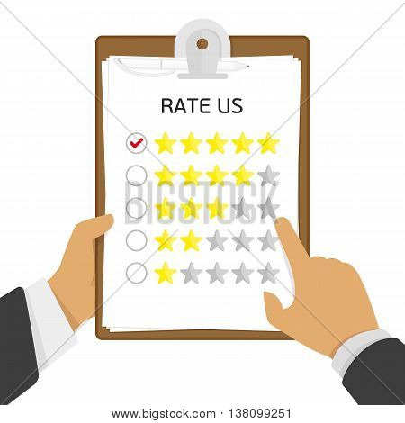 Vector customer feedback concept in flat style - clipboard and hand checking five stars mark on it. Feedback and service rating template concept. Hand holding clipboard with rate stars.