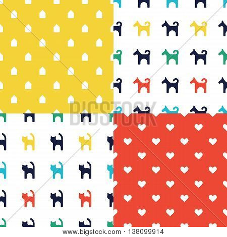 Scandinavian seamless pattern set. Newborn seamless patterns with cats and dogs. Kids background. Vector seamless baby pattern. Perfect for kids bed linen baby cotton kids wallpaper.