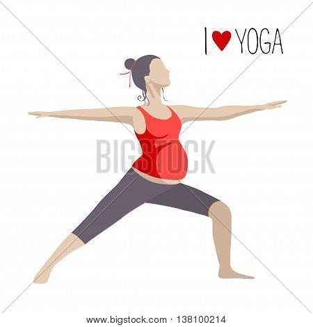 Pregnant woman doing exercise. Yoga positions in Warrior or Virabhadrasana Pose. Vector illustration