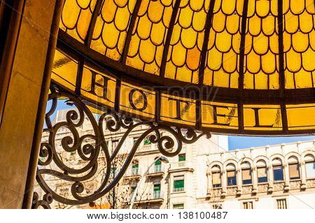 Marquee at the hotel entrance in Barcelona