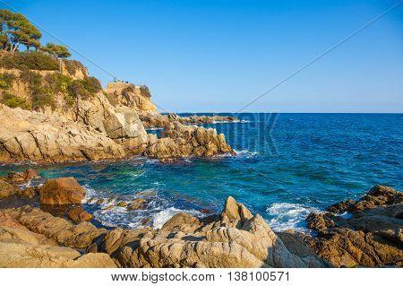 Lloret de Mar Costa Brava Catalonia Spain. The spectacular rocks at Cala Banys.