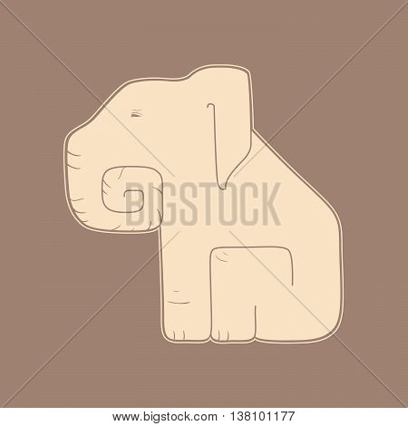 Flat beige elephant on a brown background vector