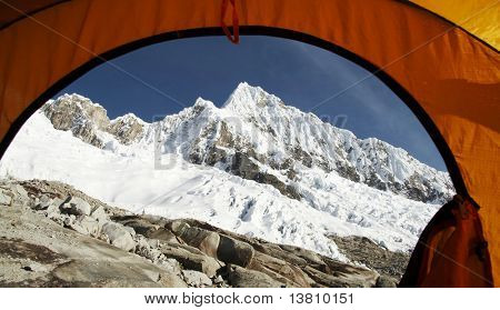 View from the tent on the Alpamayo peak