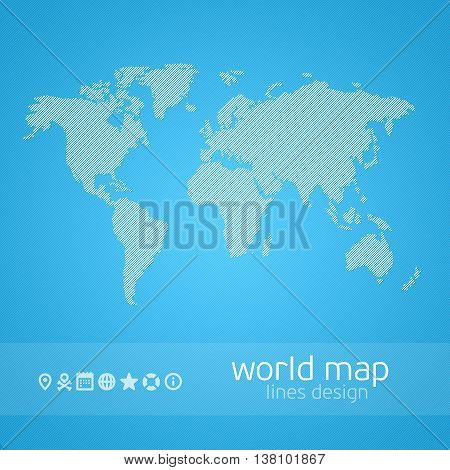 World Map Illustration. Vector illustration of a map of the earth in a stylized lines. Earth map in a contemporary style on a blue background. Infographic template card with a set of icons.