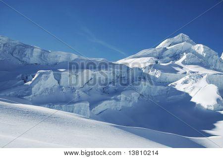 Blue snow mountain