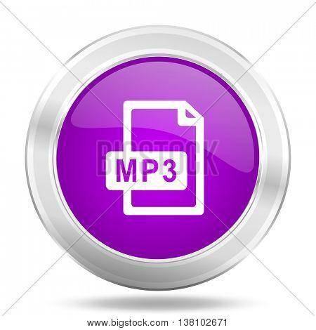 mp3 file round glossy pink silver metallic icon, modern design web element