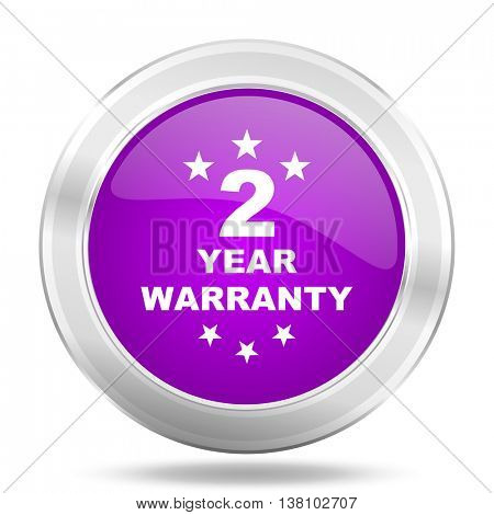 warranty guarantee 2 year round glossy pink silver metallic icon, modern design web element