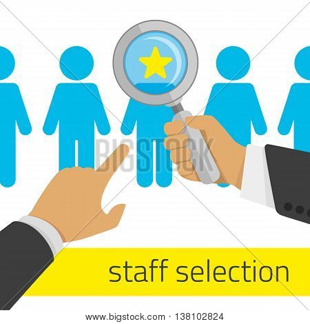 Choosing person for hiring. Job and staff, human and recruitment, select people. Vector illustration in flat style.