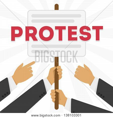 Hands holding protest signs, crowd of people protesters background, political, politic crisis poster, fists, revolution placard concept symbol flat style modern design vector illustration.