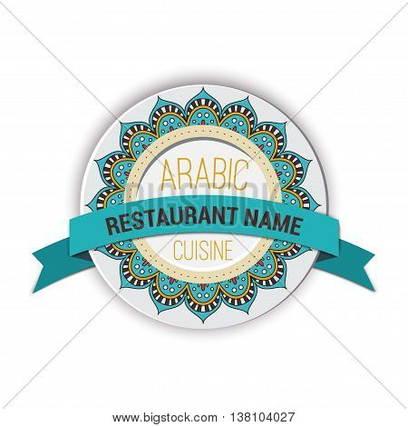 Restaurant emblem arabic cusine. Islam, Arabic, Indian motifs. Oriental vector mandala with ribbon.