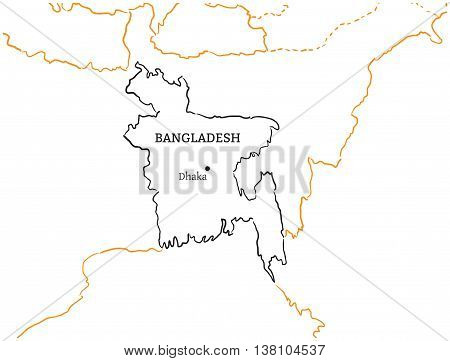 Bangladesh country with its capital Dhaka in Asia hand-drawn sketch map isolated on white