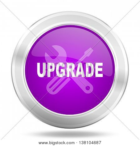 upgrade round glossy pink silver metallic icon, modern design web element