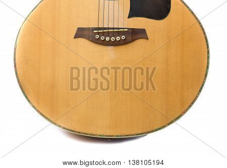 Acoustic guitar music instrument on white background .
