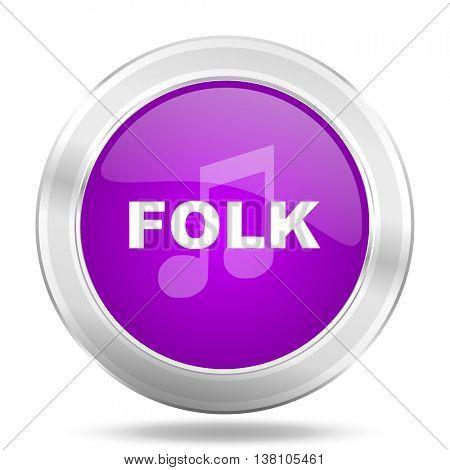 folk music round glossy pink silver metallic icon, modern design web element