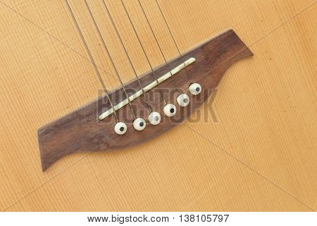 Acoustic guitar body music instrument detail .