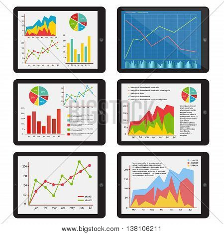 Set of the tablets with the charts. The graph on the screen of the gadget. Vector illustration.