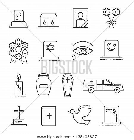 Funeral thin line icon. Set of funeral object