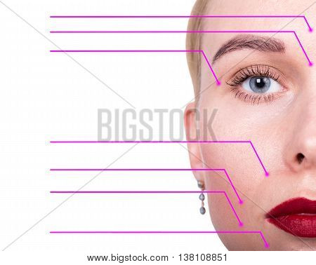Close-up portrait of young, fresh and natural woman with the dotted arrows on her face pointing on a face areas. spa, surgery, face lifting and make-up concept.