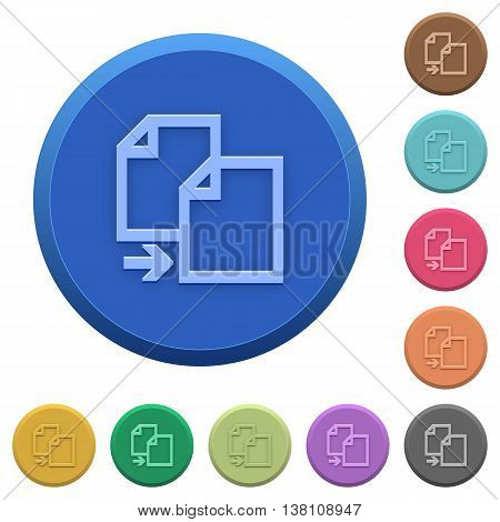 Set of round color embossed copy item buttons