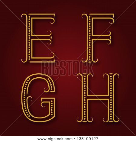 E F G H golden letters with shadow. Font of dots and lines with flourishes. Type in art deco style.