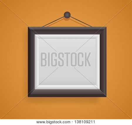 blank picture frame template hanging on orange wall .vector