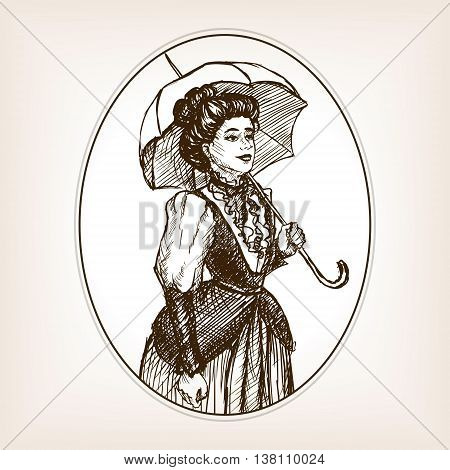 Vintage lady sketch style vector illustration. Old engraving imitation.