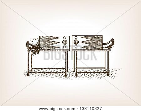 Circus sawing performance sketch style vector illustration. Old engraving imitation.