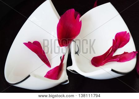 Close up of a broken white ceramic cup on black background with red crumbled flower petals. Concept for divorce, relationships, friendships