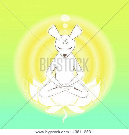 Simple graphic object - Meditating mouse in the lotus