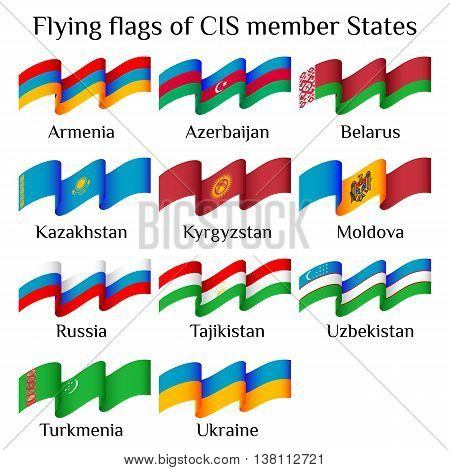 Set of flying flags of CIS countries in waves isolated on white background. Ensigns of 11 CIS member states. Vector illustration