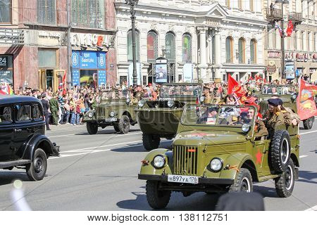 St. Petersburg, Russia - 9 May, Other cars of the war years, 9 May, 2016. Memory Action