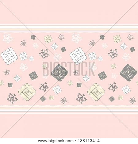 Geometric roses, seamless pattern EPS 8 Isolated object