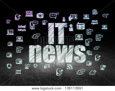 News concept: Glowing text IT News,  Hand Drawn News Icons in grunge dark room with Dirty Floor, black background