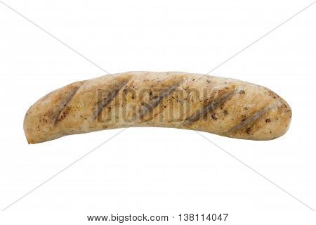 Fried smoked sausage or wurst isolate on white background concept