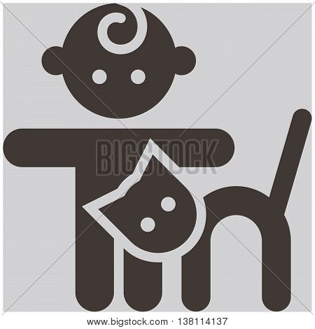 Kids activities icon - child and cat in the petting zoo