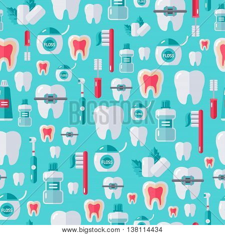 Seamless dental pattern with flat tooth care icons and white teeth. Vector illustration. Colorful dentistry background.